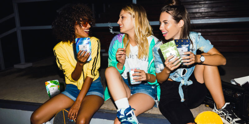 Cannaflower Skater Girls with Hawaiian Haze Remedy OG Kush Bubba Kush and Abacus smiling high CBD strains without paranoia or anxiety